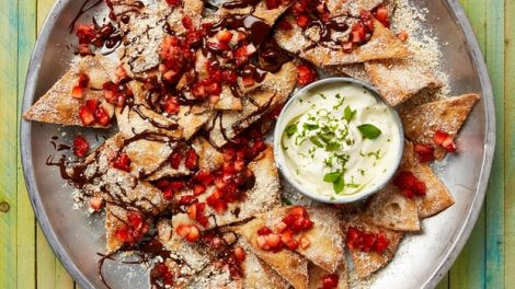 Liam Charles's recipe for candy nachos with a popcorn sugar and lime dip